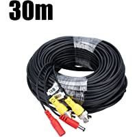 FLOUREON BNC Câble 30M DC Vidéo Câble d'alimentation 98,4 Pieds CCTV Caméra Câble pour Système de Sécurité/Kit de Vidéosurveillance/DVR(30M)