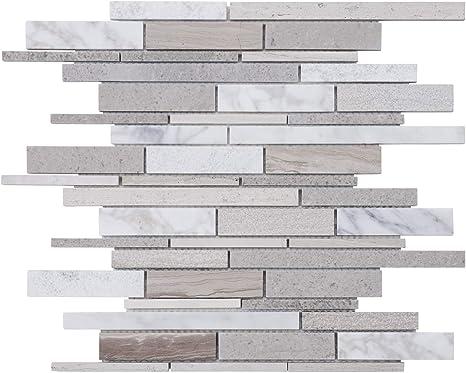 Modket TDH325NS-S Sample Calacatta Marble Stone Super White Glass Metallic Foil Brick Joint Modern Mosaic Tile Backsplash Kitchen Bath Bathroom Shower Interior Wall