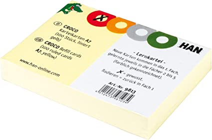 200 Karteikarten DIN A8 für HAN Karteibox Lernkartei Karteikasten Croco 9812 Neu