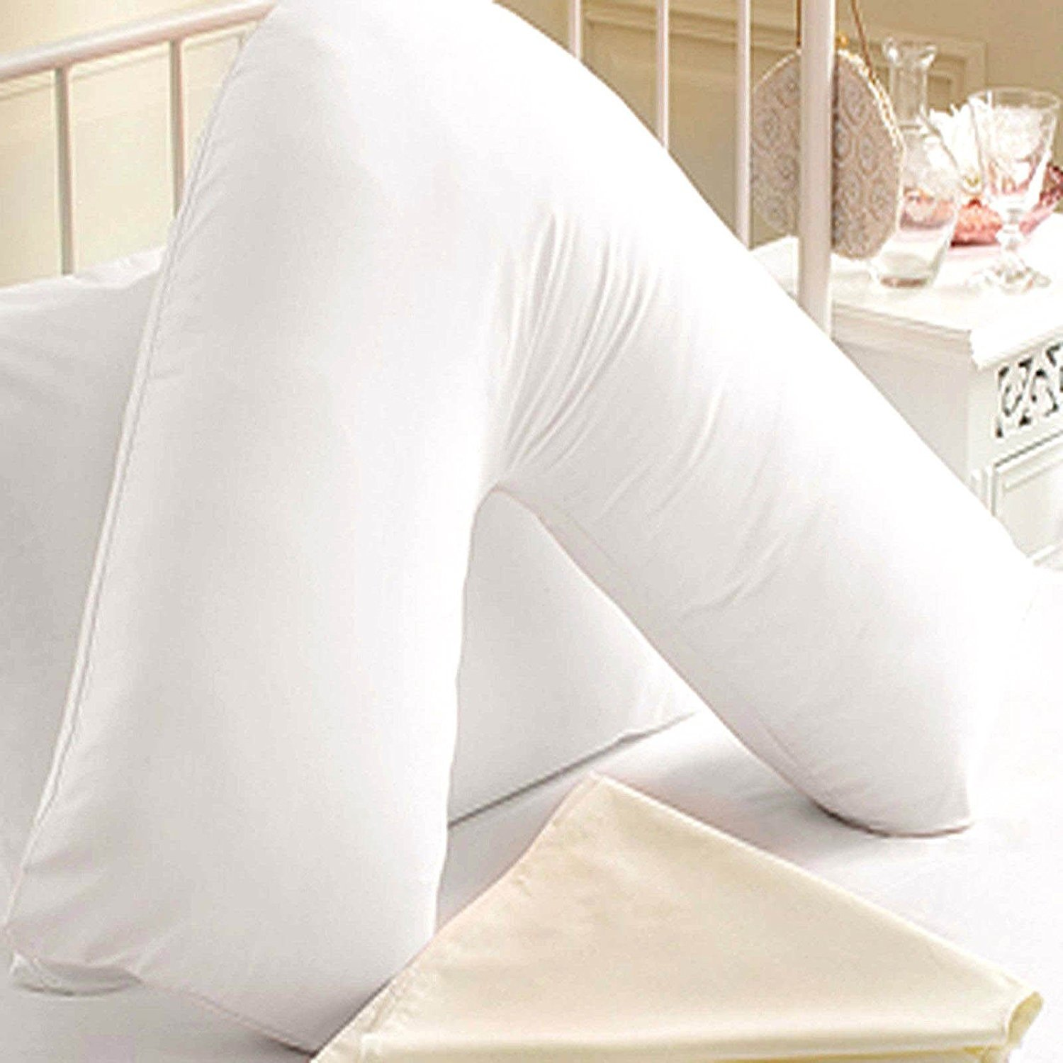 Iyan Linens Ltd Large Back & Neck Nursing Support Non Allergenic Orthopedic/Pregnancy V- Shaped Maternity Pillow