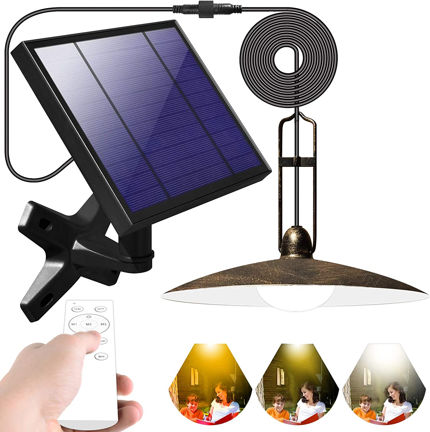 HITMODA Solar Pendant Lights Outdoor Upgrade Solar Shed Light with Wall Through Remote Control 16.4Ft Cord IP65 Waterproof Hanging for Indoor Garden Gazebo Patio Yard Porch Balcony Storage Room Coop