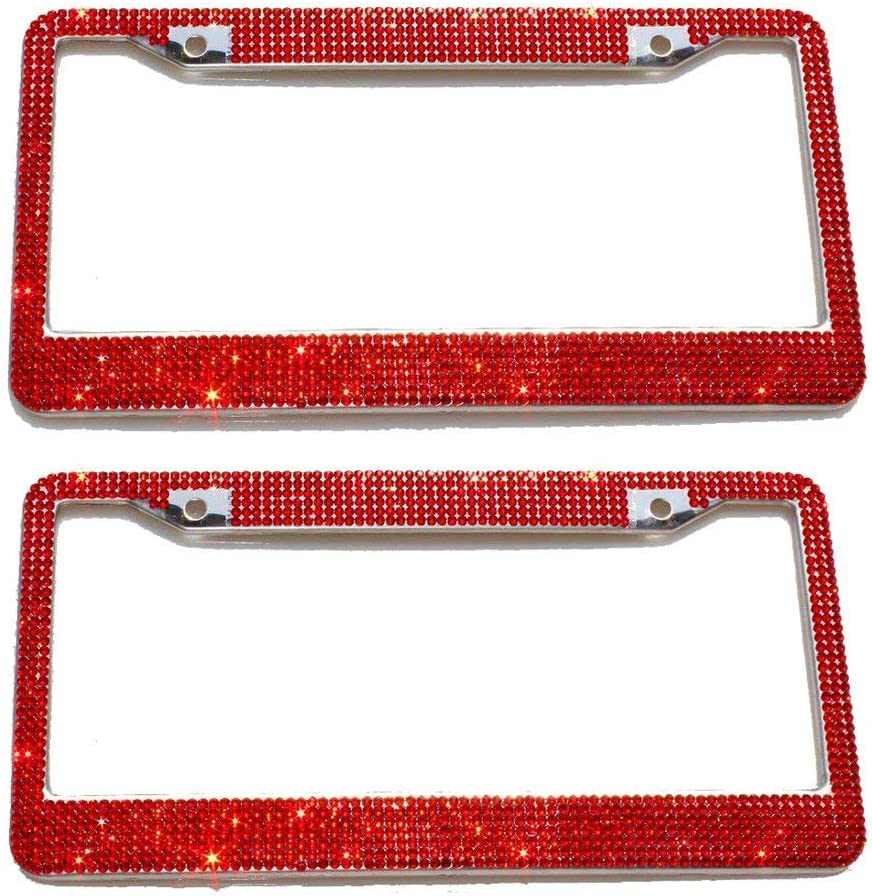 JUSHACHENGTA 7 Row Handcrafted 1000 Pcs Finest 14 Facets Premium Crystal Diamond Stainless Steel License Plate Frame Bonus Matching Screws Caps