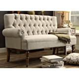 Millbury Home  Rosevera Hermosa Tufted Button Upholstered Fabric Loveseat, Beige