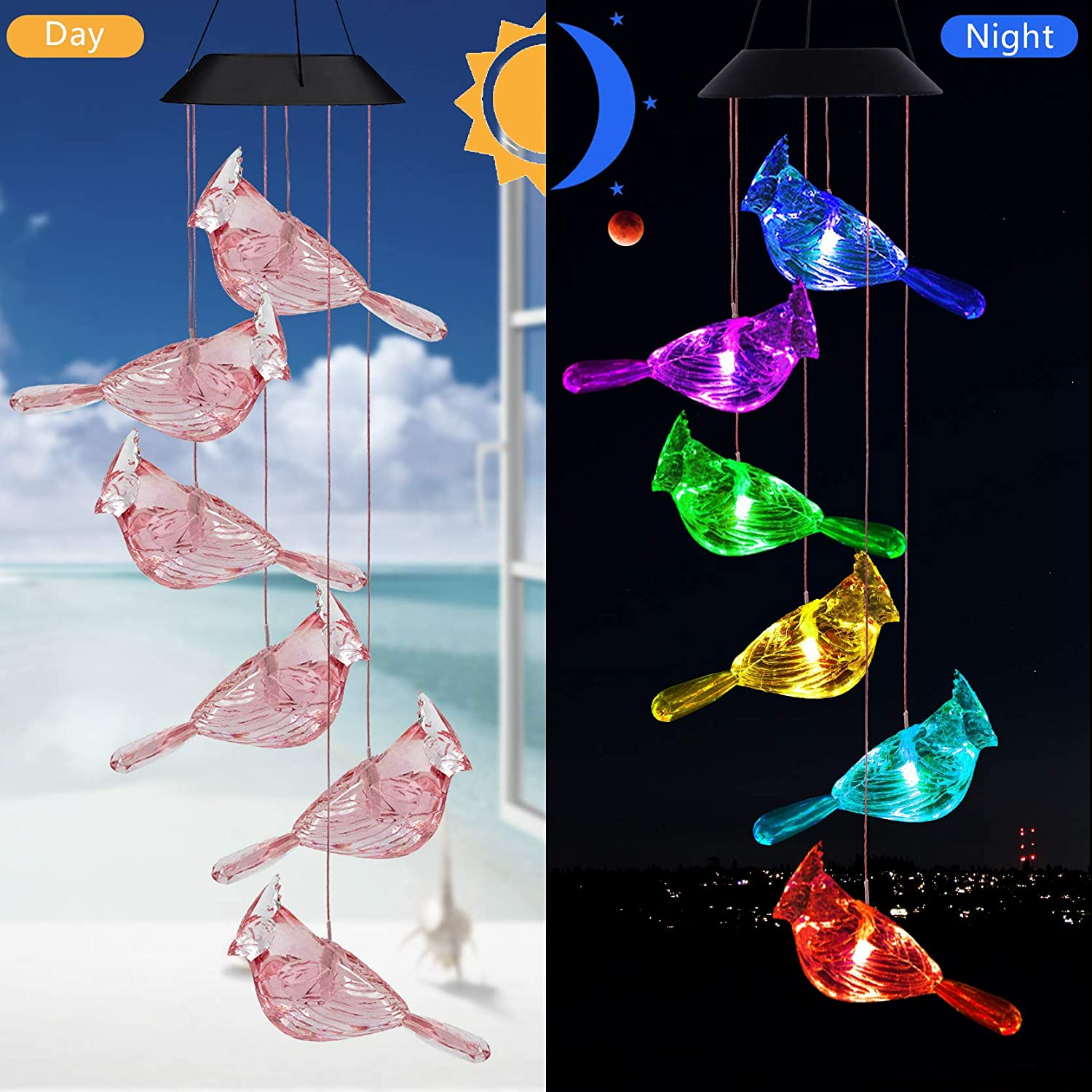 LED Solar Cardinal Wind Chime Light Outdoor-Waterproof Cardinal Solar Light, Solar Powered Changing Color Light Mobile Romantic Cardinal Wind-Bell for Home,Party,Festival Decor,Night Garden Decoration