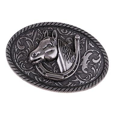 P Prettyia Boucles de ceinture Classique Style de Western Cowboy Motif  Cheval pour Homme 71a3b60b430