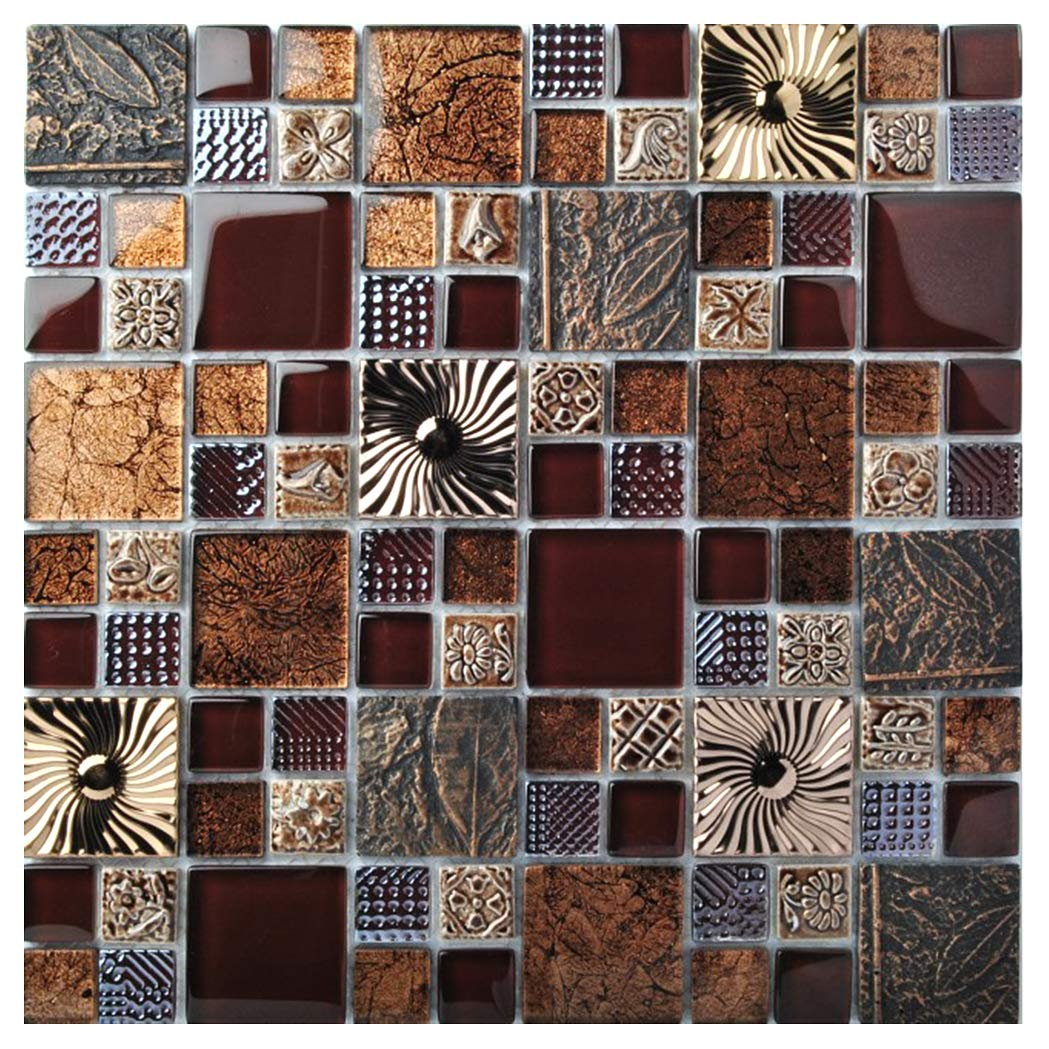Special Carving Mosaic Art Accent Tile Red Brown Color Glass Wall Backsplash Tiles Rose Gold Metal Kitchen Bath Walls Decor TSTFLY16 (1 Sample 12x12 Inches) by BLUJELLYFISH