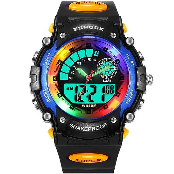 Reloj digital para niños, deportivo, estudiante, relojes para niños, niñas, reloj de pulsera digital con LED para niños y niñas: Amazon.es: Relojes
