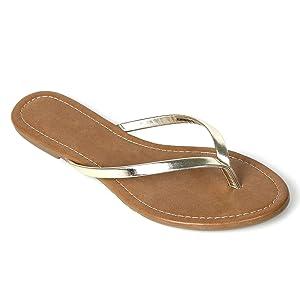 Women's Summer Flat Flip Flops Slip On Sandals Shoes (5, Gold)