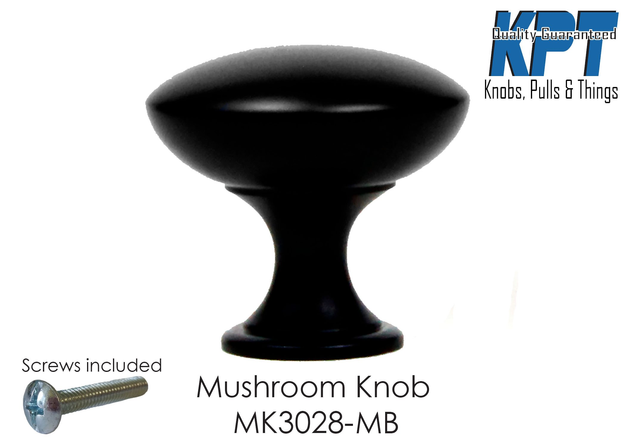 Knob Cabinet Hardware Traditional Round Mushroom Style Drawer Door Pull Handle Home Decorative in Matte Black 25 Pack