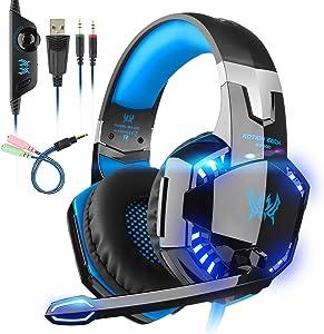 Auriculares Gaming con microfono, Cascos Gaming, Auriculares para Juegos para PS4 / PC/Xbox One/Switch/Tableta/Celular, Headset estereofónico con fantástico LED Luces, micrófono antiruido (G2000-1)