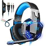 PREUP Auriculares Gaming Cascos PS4, Micrófono Control de Volumen LED Luz 3.5mm Jack, Reducción de ruido, PC/Xbox One/Nintendo Switch/Móvil/Tablet, Azul+Negro (Tiene un adaptador)