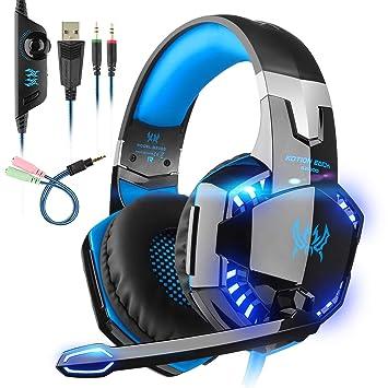 Tsing Auriculares profesionales para juegos con cancelación de ruido, micrófono, conector estéreo, luz LED, graves envolventes y orejeras de memoria ...