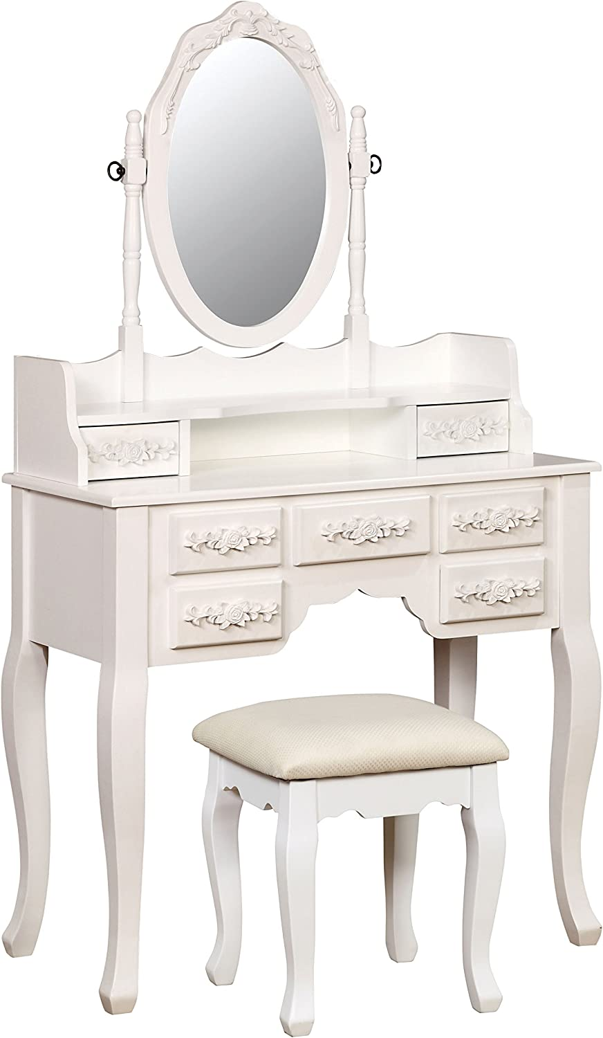 HOMES: Inside + Out Gala Transitional Vanity Table with Stool, White
