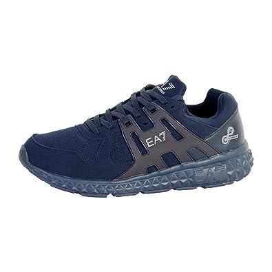b4644a10ed0 Emporio Armani EA7 chaussures baskets sneakers homme en daim spirit noir   Amazon.fr  Chaussures et Sacs