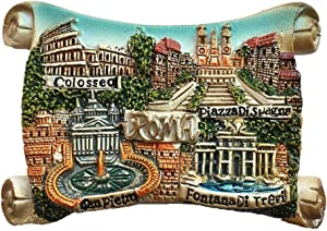 4 Attractions of Rome Italy 3D Fridge Magnet Souvenir Gift,Home & Kitchen Decoration Magnetic Sticker Roma Italy Refrigerator Magnet