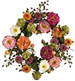 Amazon Price History for:Nearly Natural 4664 Peony Wreath, 24-Inch, Mixed