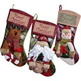 Soraco 20 inch 3Pack Classic Christmas Stockings with Magnificent Detailed Embroidery Party Decoration