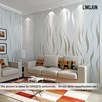 Modern minimalist non woven water plant pattern 3d flocking embossed wallpaper roll living room bedroom silver grey 1 amazon co uk diy tools