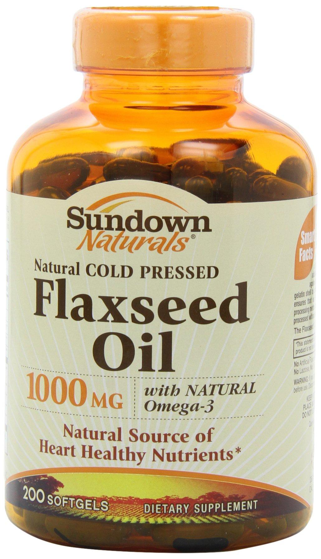 Sundown Naturals Flaxseed Oil 1000 Mg Softgels, 200 Count