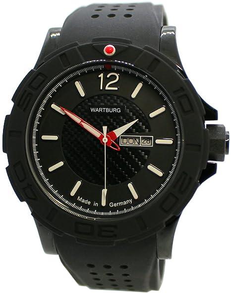 WARTBURG Reloj Deportivo de Hombre fabricado en Alemania acero inoxidable negro rojo Day Date 47 mm