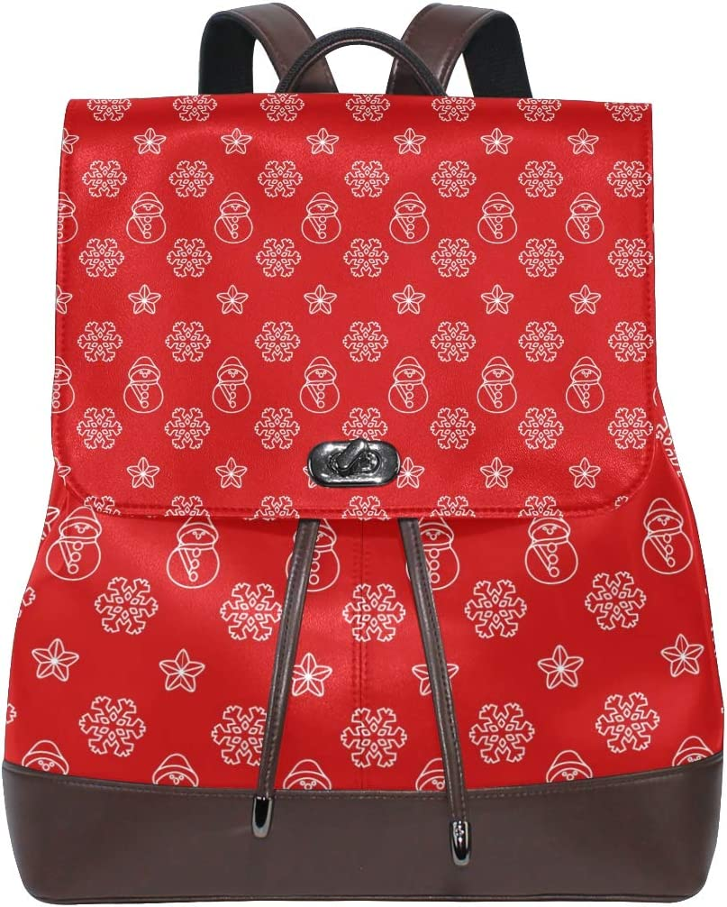 Unisex PU Leather Backpack Snowman Christmas Xmas Red Print Womens Casual Daypack Mens Travel Sports Bag Boys College Bookbag