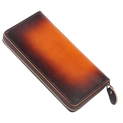 93ba7aa57480 Amazon | 長財布手染め メンズ 紳士用の長財布 本革 レザー メンズラウンドファスナー財布 ロングウォレット 大容量 カード収納 小銭入れ  (ブラウン) | 財布