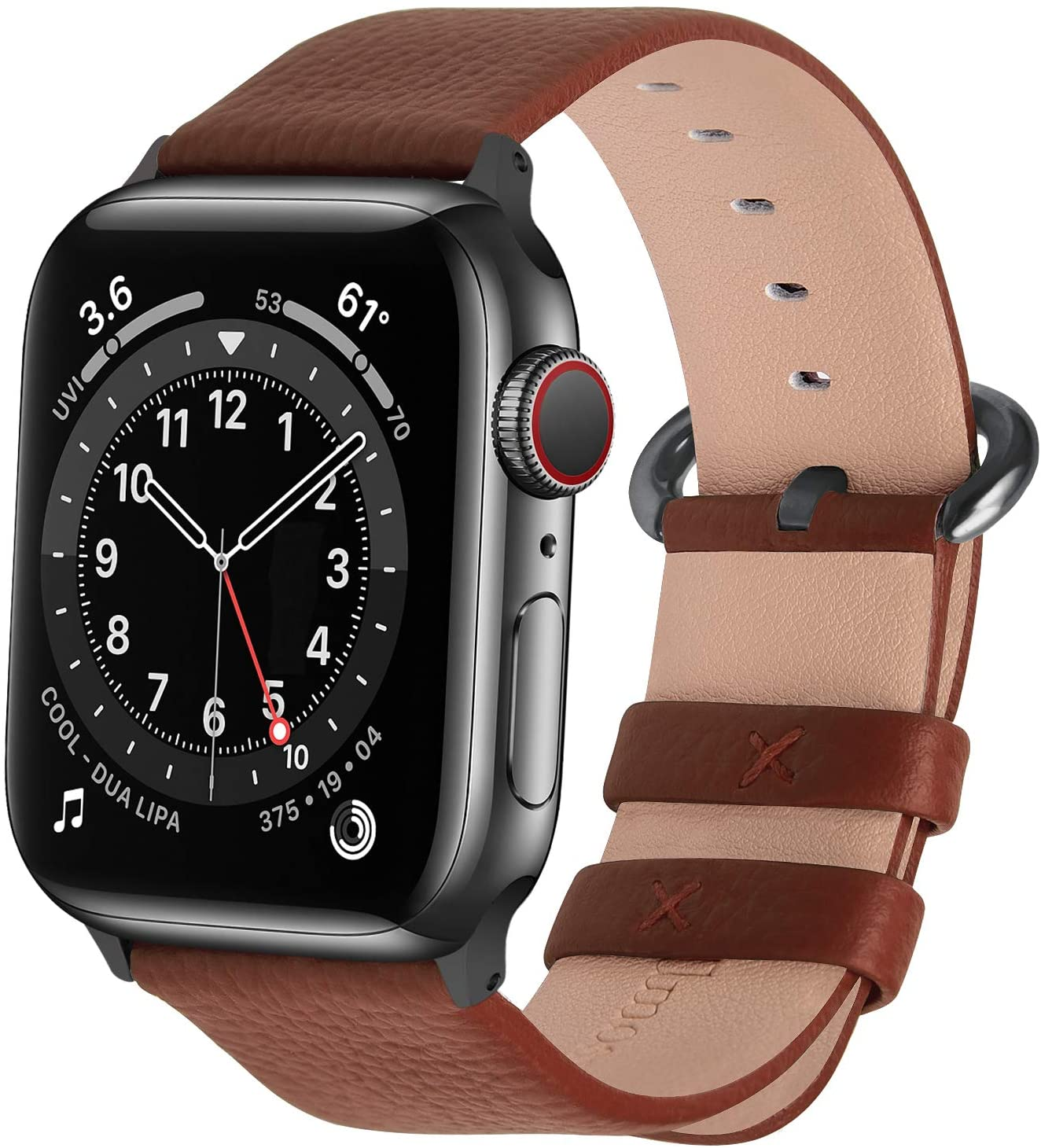 Fullmosa Compatible Apple Watch Band 42mm 44mm 40mm 38mm Leather Compatible iWatch Band/Strap Compatible Apple Watch SE & Series 6 5 4 3 2 1, 42mm 44mm Brown + Smoky Grey Buckle