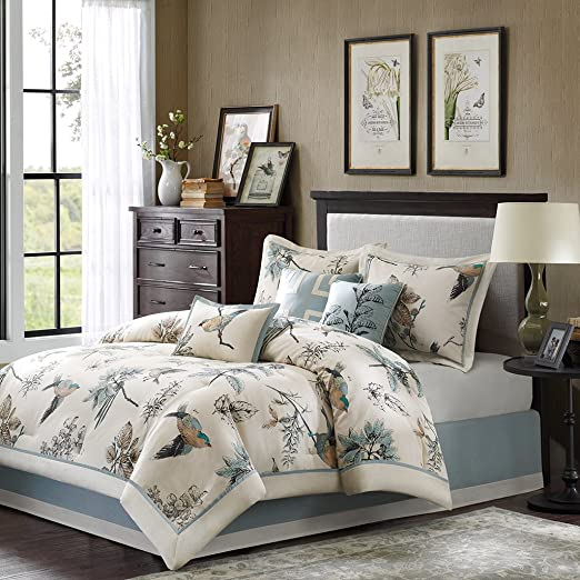Textiles Quincy 7 Piece Comforter Set, Queen, Khaki