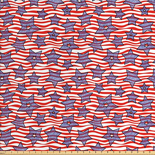 Lunarable Striped Fabric by The Yard, Doodle Stars and Wavy Stripes American Flag Patriotic USA Pattern, Decorative Fabric for Upholstery and Home Accents, Navy Blue Vermilion White ()