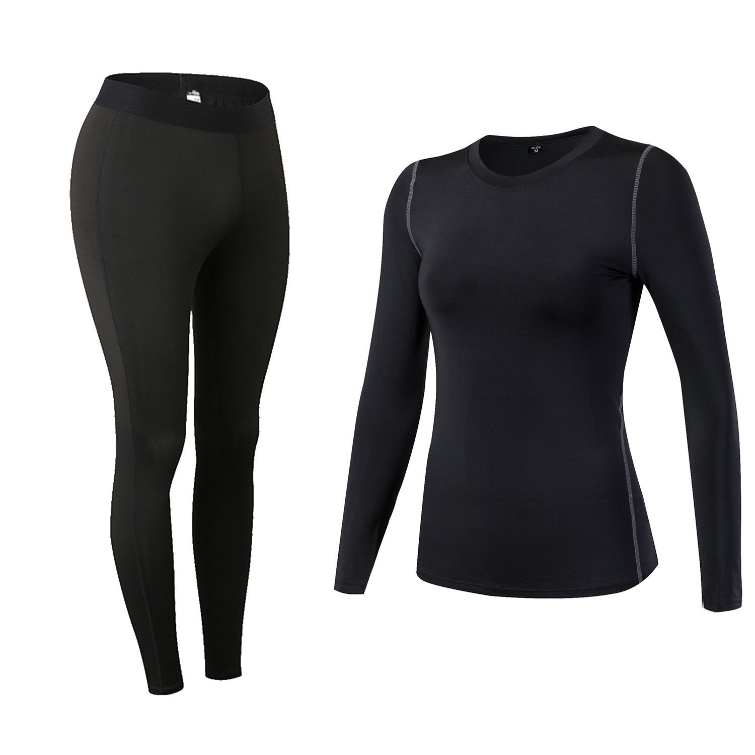 Minghe Women's Thermal Underwear Set Stretch Seamless Tops and Bottom Solid Color Tight Base Layer Black M