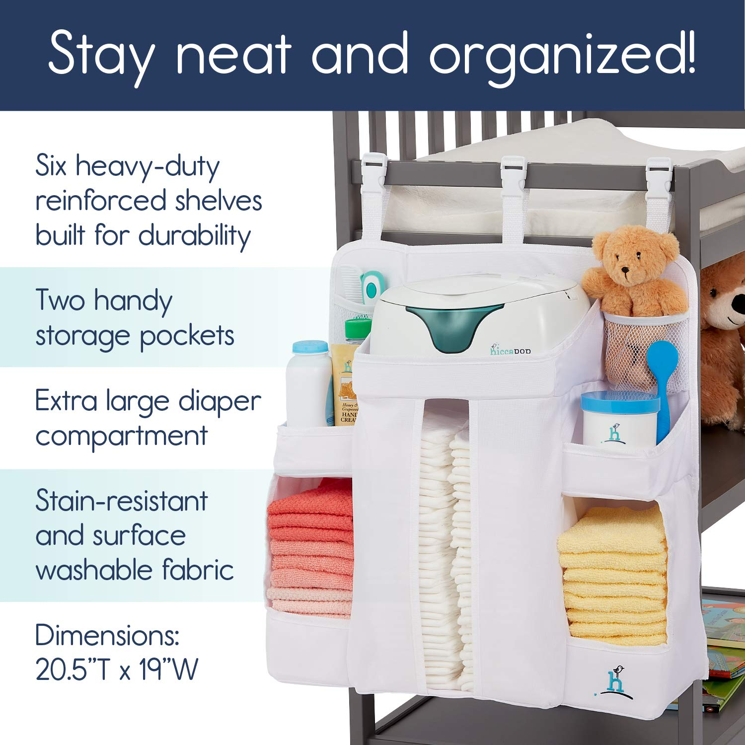 Hang on Crib Changing Table or Wall hiccapop Nursery Organizer and Baby Diaper Caddy Hanging Diaper Organization Storage for Baby Essentials
