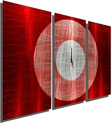 Statements2000 Large Modern Metal Wall Art Clock Panels by Jon Allen, Red Silver, 38 x 24 – Crimson Moon