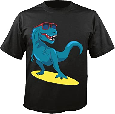 T-Shirt Camiseta Remera Dinosaurio en la Tabla de Surf con Gafas de Sol Surfista Instructores de Surf Tablas de Surf in Negro: Amazon.es: Ropa y accesorios