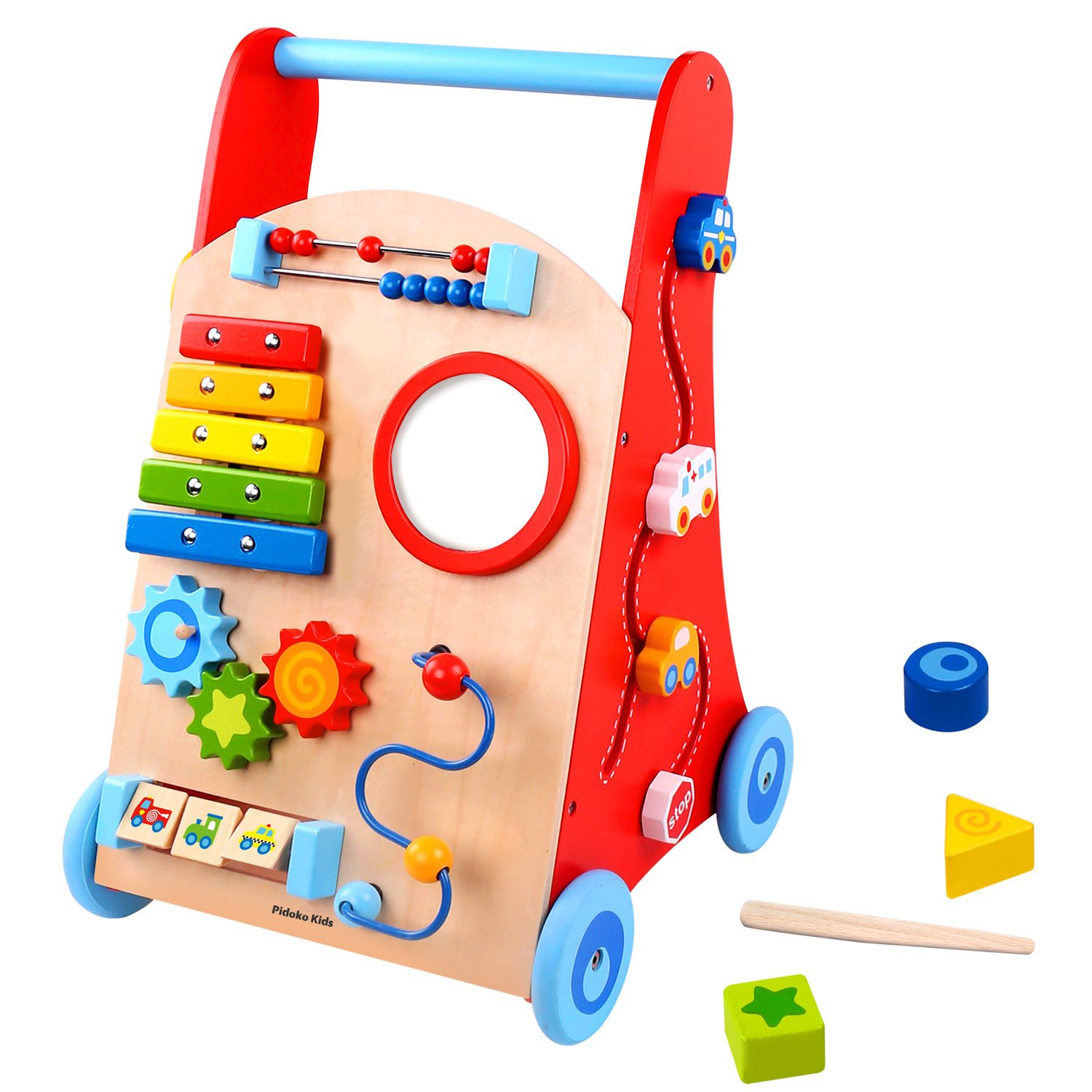 Pidoko Kids Baby Walker Cart, Red - Toddler Push Toys for Boys and Girls 18 Months and up - My First Learning Walker