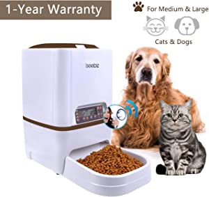 Iseebiz 6L Automatic Pet Feeder, Cat Dog Food Dispenser Hopper, 4 Meals a Day with Voice Recorder, Portion Control, Timer Programmable, Food Dispense Remind, IR Detect, for Medium Large Cats Dogs