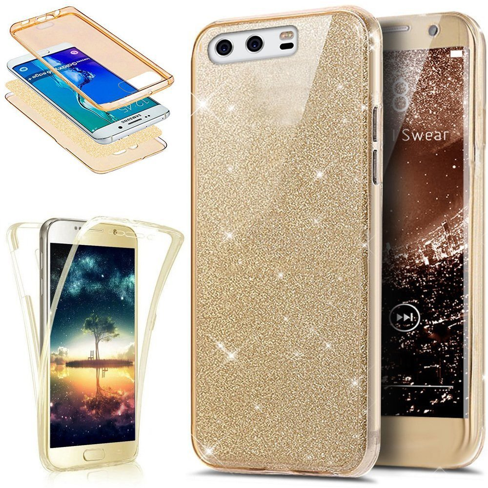 Coque Huawei P10 Plus, Etui Huawei P10 Plus, Huawei P10 Plus Ultra Fine TPU Silicone Coque Paillette Strass Brillante Bling Bling Glitter, KunyFond 360 Degres Protection INTEGRAL Avant + Arriere Anti Choc Coque de Protection avec Absorption de Choc et Anti