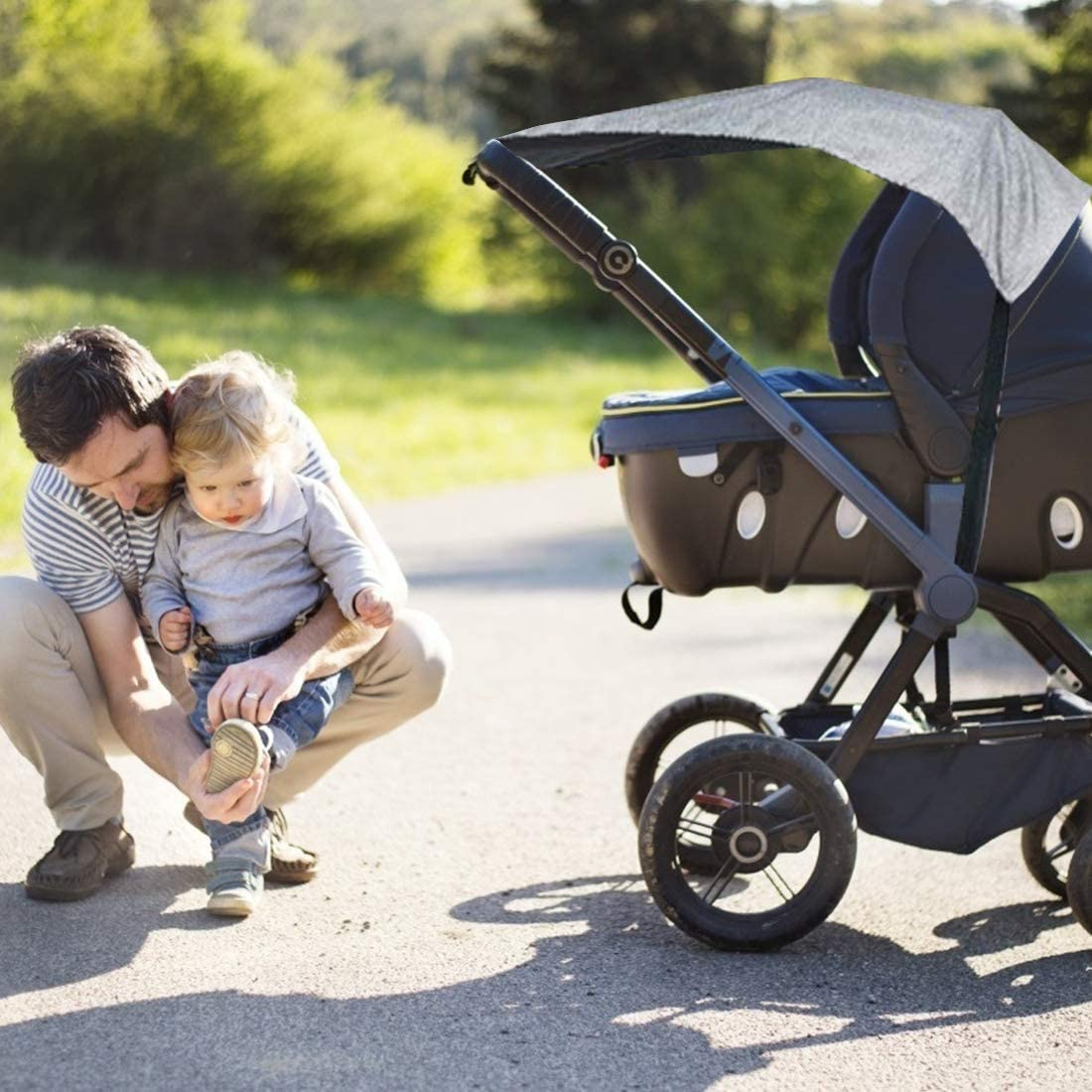 Black Sun Sail with UV Protection 50+ Universal Baby Sunshade for Pram Blackout Blind for Pushchairs Buggy and Carrycot