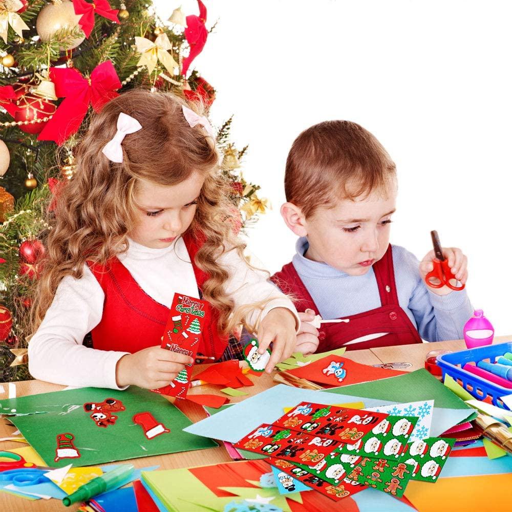Shimmer Graphic Stickers for Xmas Home Party Decoration Scrapbooking HosDen 6 Sheets Christmas Glitter Decals Stickers