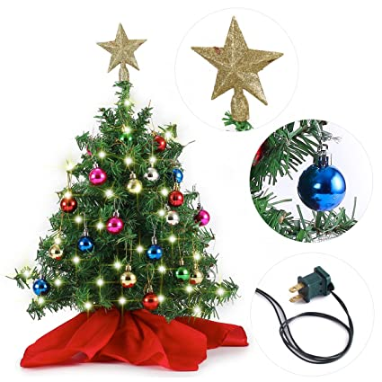 20 tabletop mini christmas tree set with clear led lights star treetop and ornaments - Mini Christmas Decorations