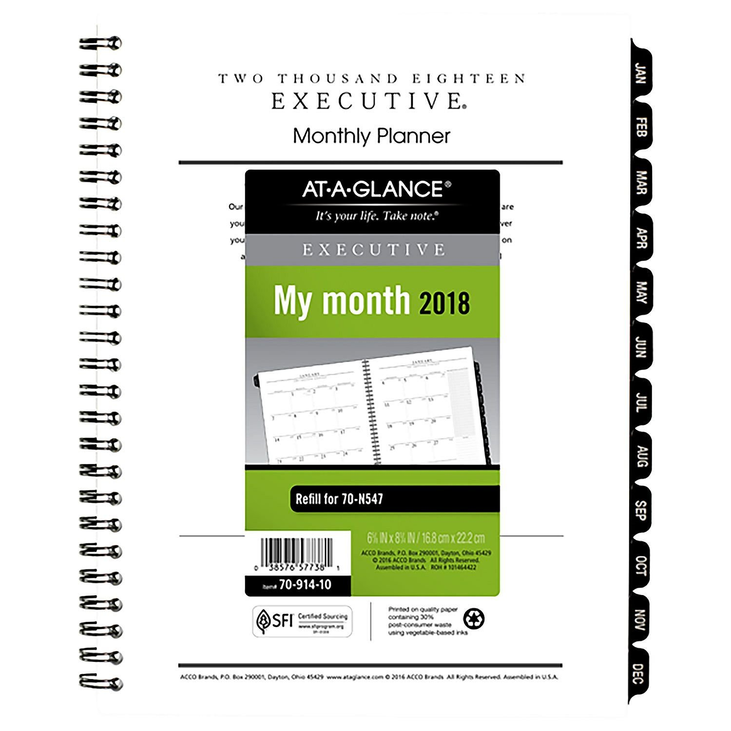 AT-A-GLANCE Executive Monthly Planner Refill, 6 5/8 x 8 3/4, 2019
