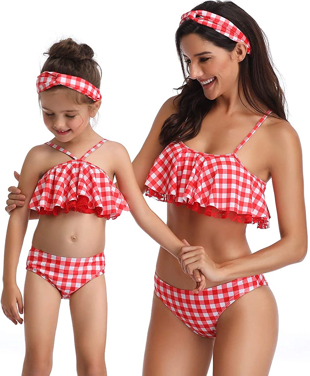 Uhnice Girls Swimsuit Two Pieces Bikini Bathing Suits Mother Daughter Swimwear