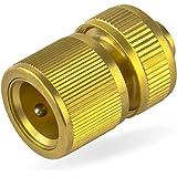 tecuro Schlauchanschlussstück mit Stecksystem für Wasserschläuche und Gartenschläuche 1/2 Zoll (Ø 13 mm) - massive Ausführung - messing-blank