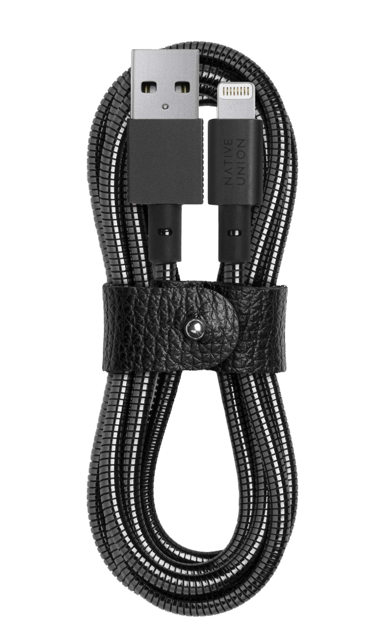Native Union Coil Cable - 4ft Ultra-Strong Stainless Steel Reinforced [Apple MFi Certified] Lightning to USB Charging Cable with Leather Strap for iPhone/iPad (Black)