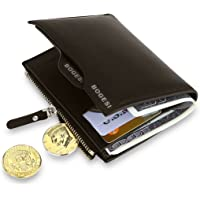 MPTECK @ Marron Portefeuille pour homme en PU cuir Porte monnaie avec poche à monnaie et porte-carte amovible compartiment à fermeture pour carte d'identité permis de conduire Carte de Crédit
