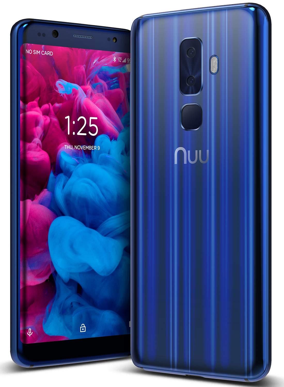 NUU Mobile G3 64GB/4GB RAM - Unlocked Cell Phone - Dual-SIM - 13MP + 5MP Camera - U.S. Warranty – Sapphire Blue