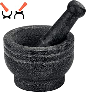 Tera 2 in 1 Mortar and Pestle Set Double Sided, 2 Cup-Capacity, Polished Granite Mortar and Pestle, Food Safe for Herbs, Spices, Coffee Beans, Tea Leaves and Masalas, Making Guacamo