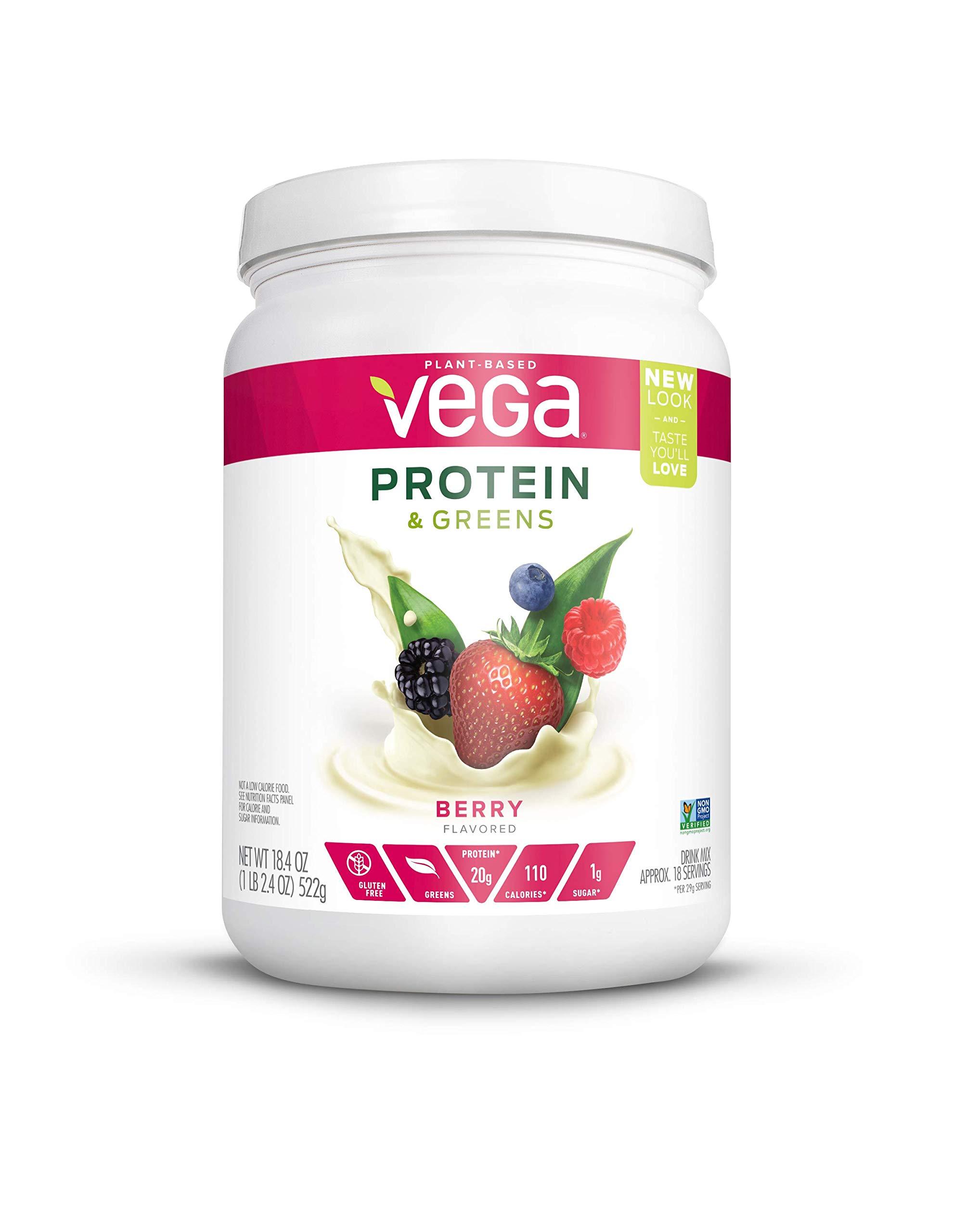 Vega Protein & Greens Tub Powder Berry 18.4 Ounce - Plant Based Protein Powder, Gluten Free, Non Dairy, Vegan, Non Soy, Non GMO by VEGA