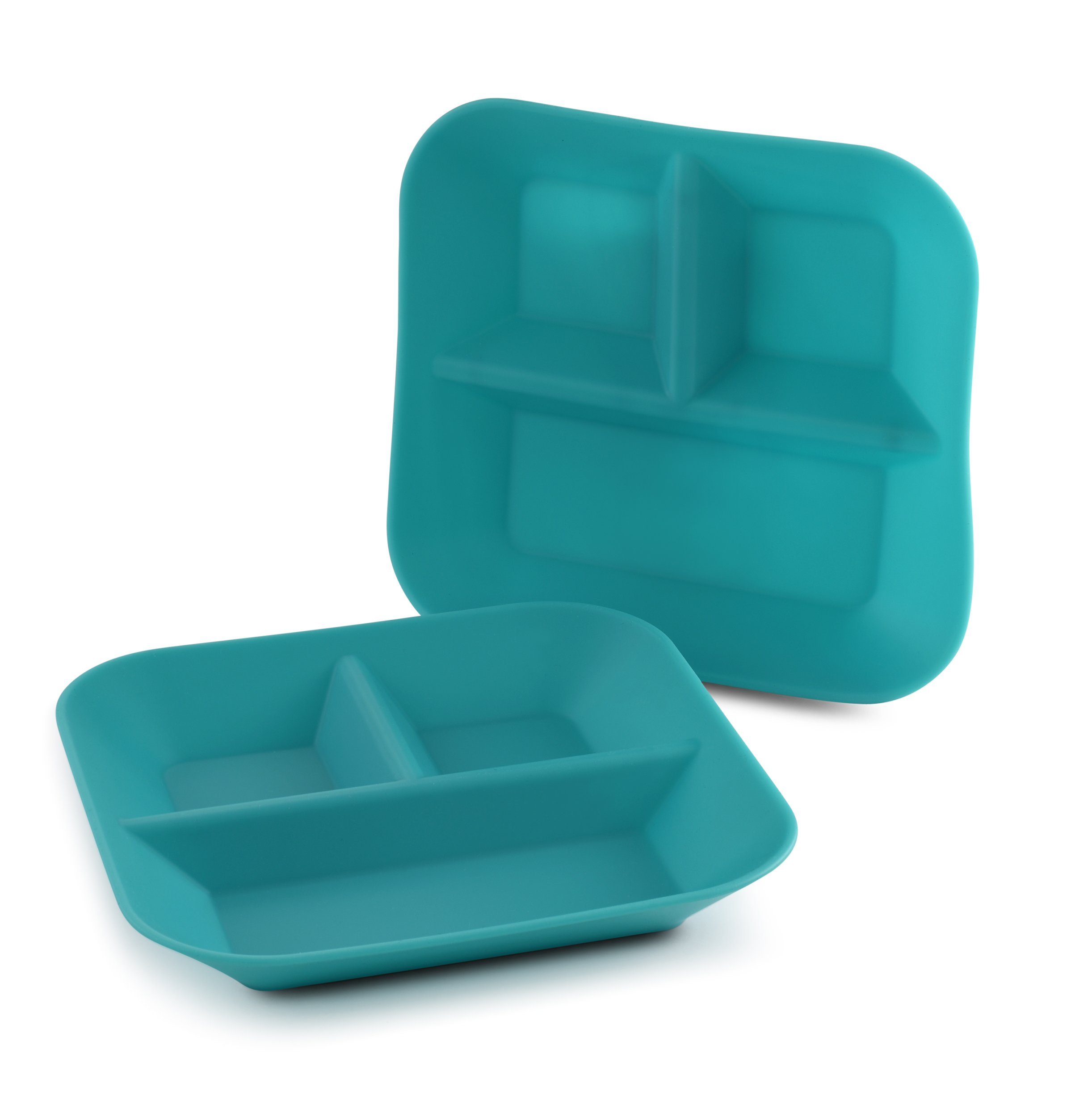 Made in The USA - 2-Pack - Silicone Plates for Babies & Kids by Kiddiebites - BPA, BPS, PVC, Phthalate, Cadmium, and Lead Free, FDA Approved Silicone, Divided Child's Placemat Set (Teal)
