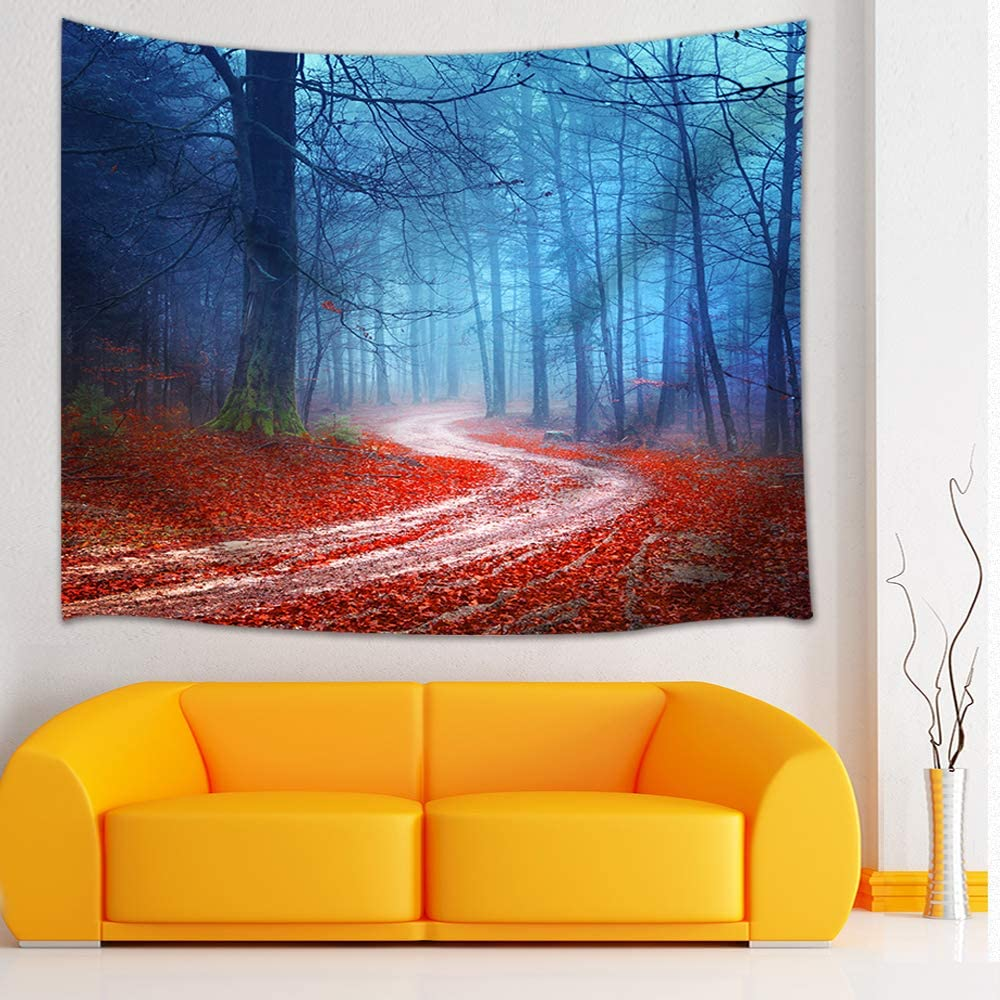 Shocur Dream Forest Tapestry, Autumn Misty Forest Red Leaves Roads Tapestry Nature Landscape Tapestry, Wall Hanging Art for Living Room Bedroom Home Decor, 51 X 59 Inches with Pins