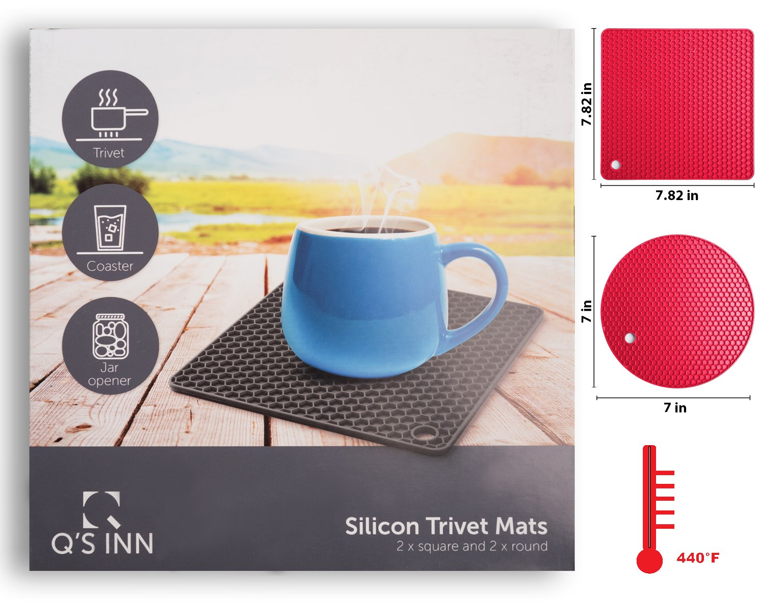 Q's INN Silicone Trivet Mats | Hot Pot Holders | Drying Mat. Our 7 in 1 Multi-Purpose Kitchen Tool is Heat Resistant to 440°F, Non-slip,durable, flexible easy to wash and dry and Contains 4 pcs. by Q's INN (Image #7)